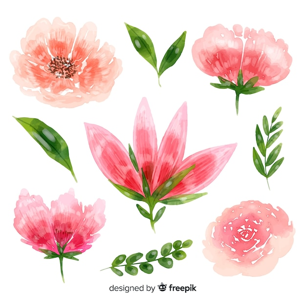 Beautiful flowers watercolor background Free Vector