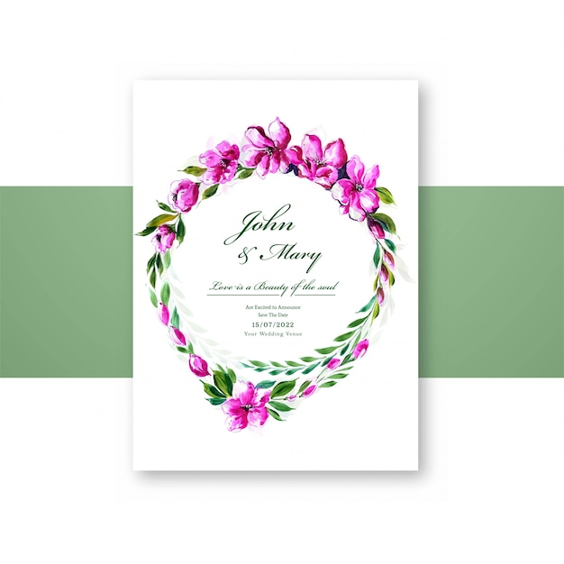Beautiful flowers widding card template Free Vector