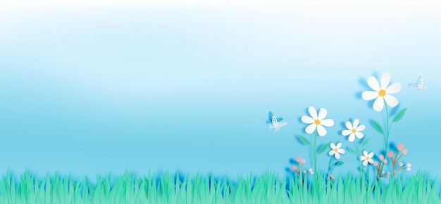 Beautiful flowers with grass field in paper art style vector illustration Premium Vector