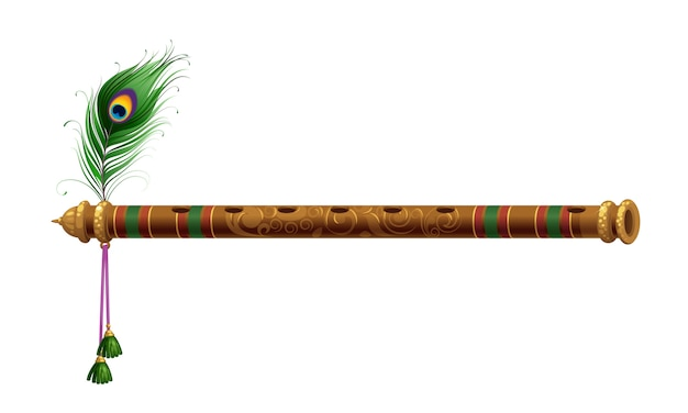 Beautiful flute with peacock feather Free Vector