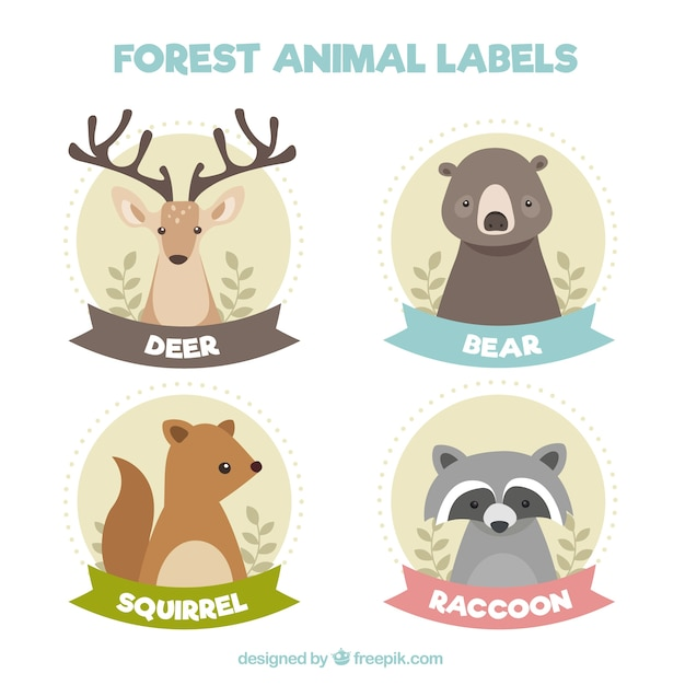 Beautiful forest animal stickers in vintage\ style