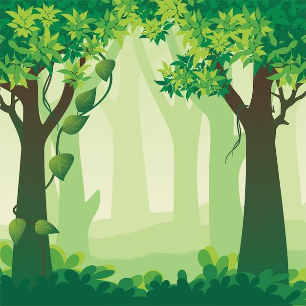 美しい森の風景イラスト Premiumベクター