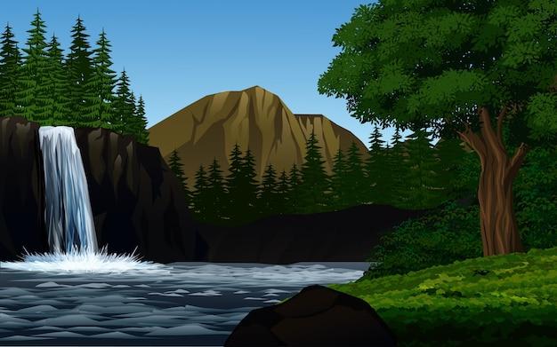 폭포와 아름다운 숲 프리미엄 벡터