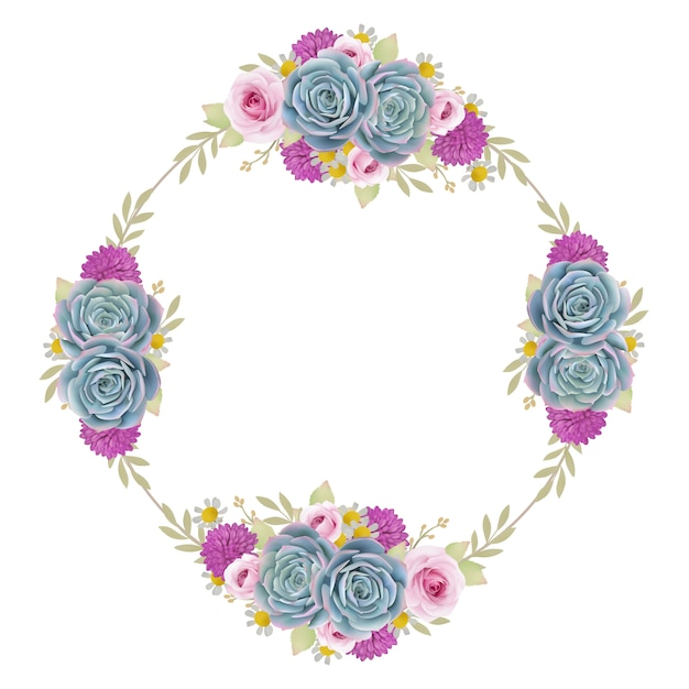 Beautiful frame background with floral roses and succulent Premium Vector