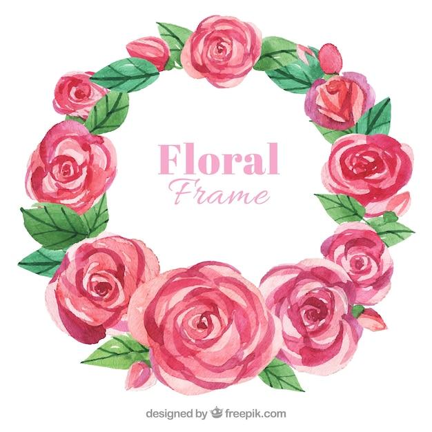 Beautiful frame of watercolor roses Vector   Free Download