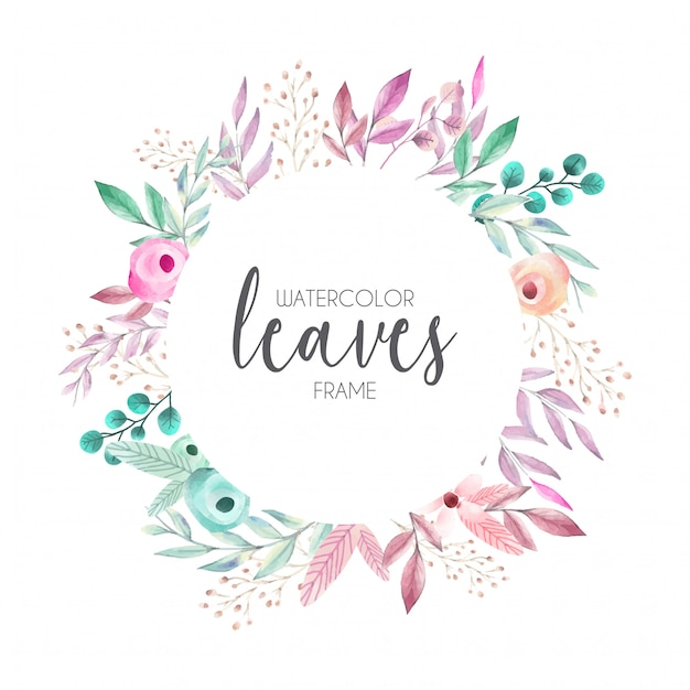 Beautiful Frame with Watercolor Leaves Vector | Free Download