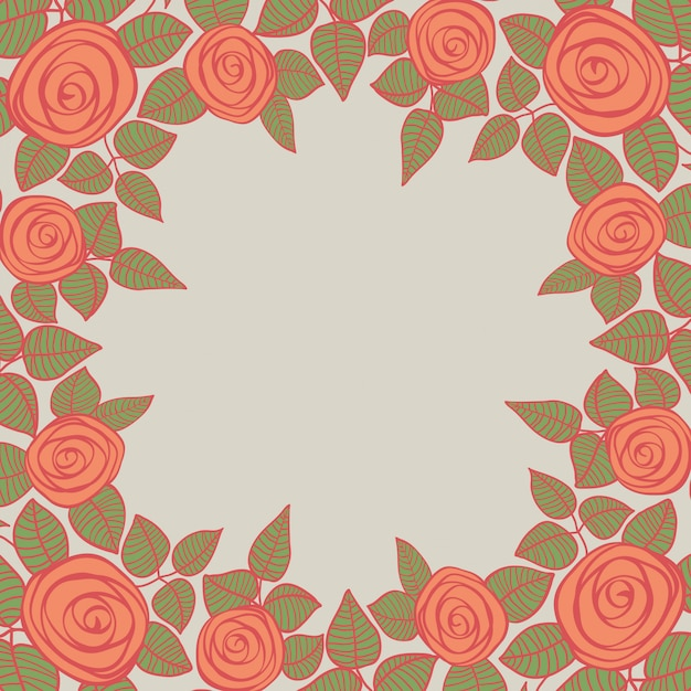 Beautiful framed background with roses Premium Vector