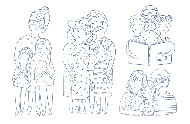 Beautiful full body and waist-up portraits of grandparents with granddaughter and grandson hand drawn with contour lines. loving grandmother and grandfather with grandchildren. cartoon characters. Premium Vector