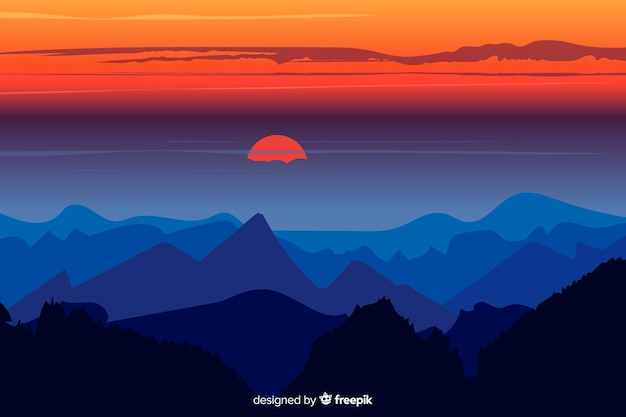 Beautiful game of colours above mountains Free Vector