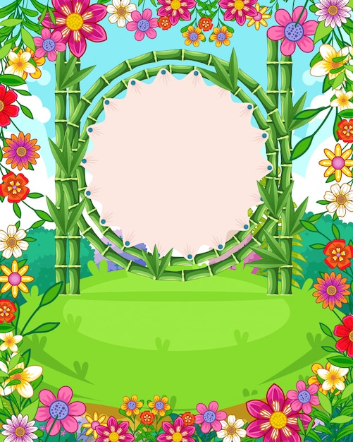 Beautiful garden background with flowers and blank sign bamboo vector Premium Vector