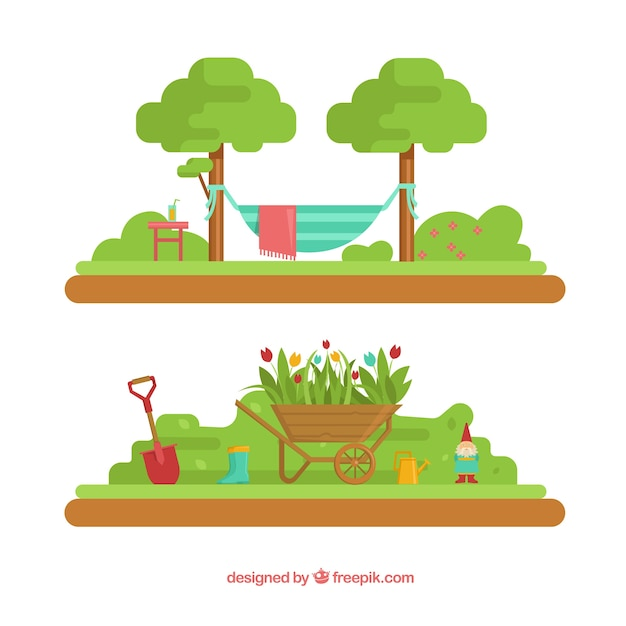 Beautiful Garden Landscapes Free Vector