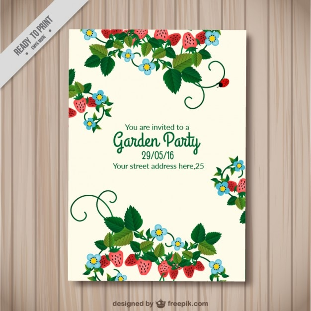 Beautiful garden party card with strawberries vector free download beautiful garden party card with strawberries free vector stopboris Choice Image