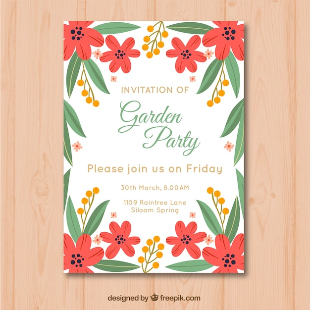 Beautiful garden party invitation template Vector | Free Download