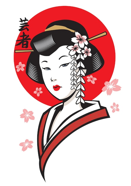 Beautiful geisha of japan Premium Vector