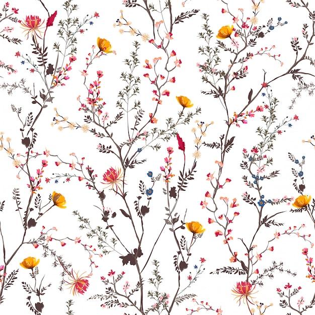 Красивые нежные ботанические цветы цветущие садовые настроения бесшовные шаблон Premium векторы