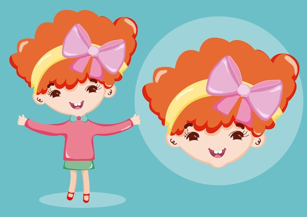 Beautiful Girl Cartoon Vector Premium Download