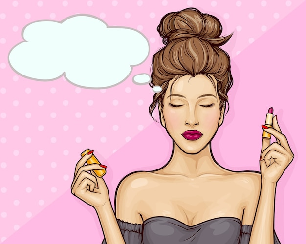 Beautiful girl holding lipstick  in pop art style Free Vector