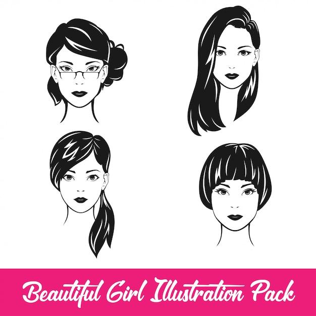 Beautiful girl illustration pack Premium Vector