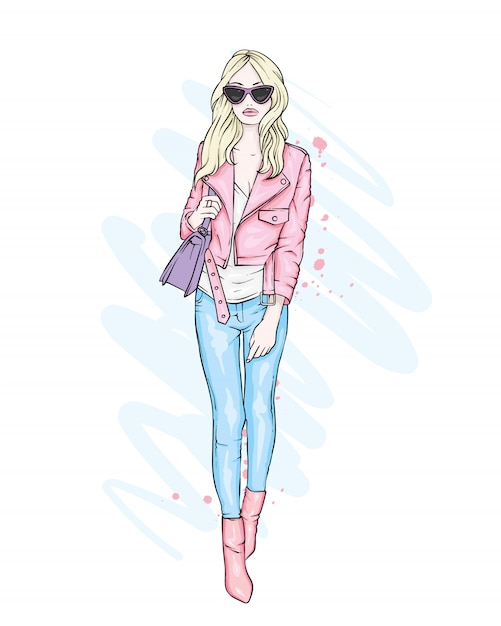 A beautiful girl in jeans, a blouse and in high-heeled shoes. a stylish woman with long hair and a bag. fashion and style, clothing and accessories. Premium Vector