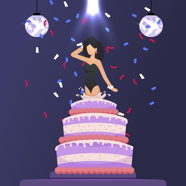 Beautiful girl jumped out of cake festive cartoon Premium Vector