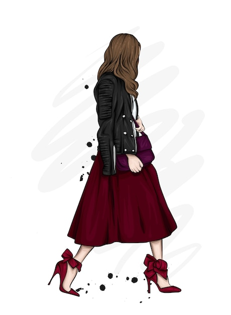 Beautiful girl in a long skirt, leather jacket and high-heeled shoes. fashion and style, clothing and accessories. Premium Vector