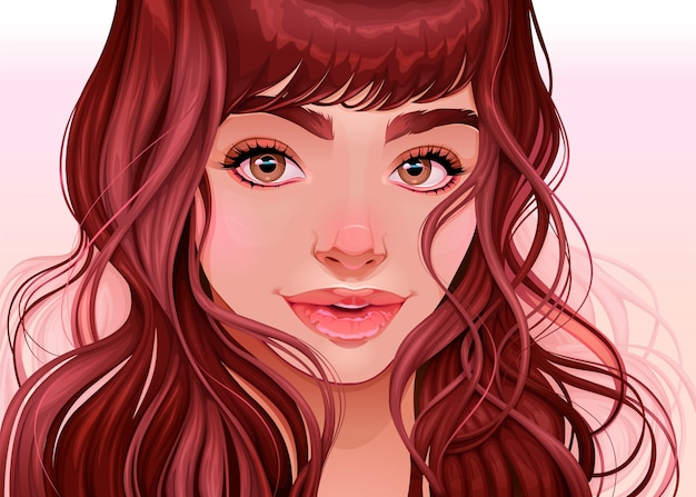 Beautiful girl looking at the viewer, vector illustration Premium Vector
