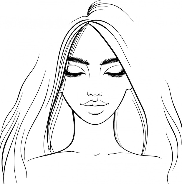 Beautiful girl portrait.  woman with closed eyes. sketch style. Premium Vector