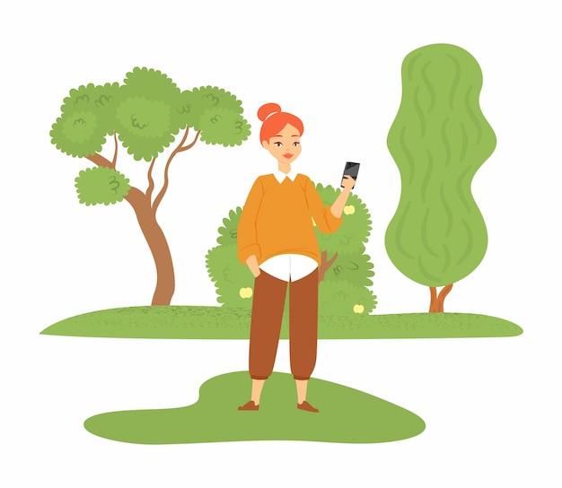 新しいスマートフォン、若い女性、幸せな女性、白、イラストを示している美しい女の子。オンラインデバイスを使用し、メディアを受信する現代のソーシャルスマートガジェット。 Premiumベクター