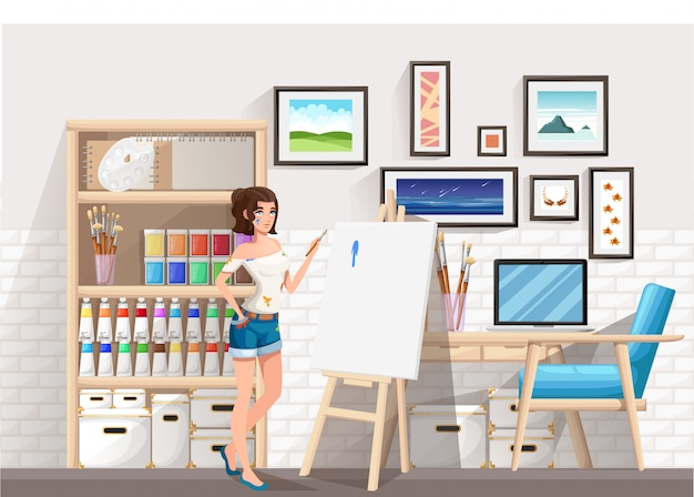 Красивая девушка, стоя на мольберте с кистью. грязная одежда. комната рисования художника. мультипликационный персонаж . иллюстрация на фоне комнаты Premium векторы