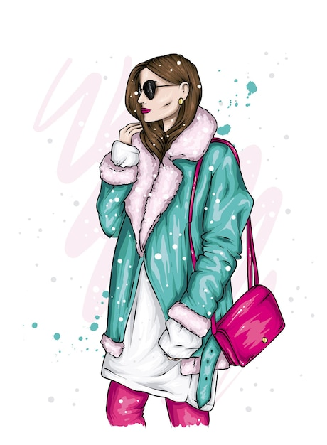 Beautiful girl in stylish winter clothes Premium Vector