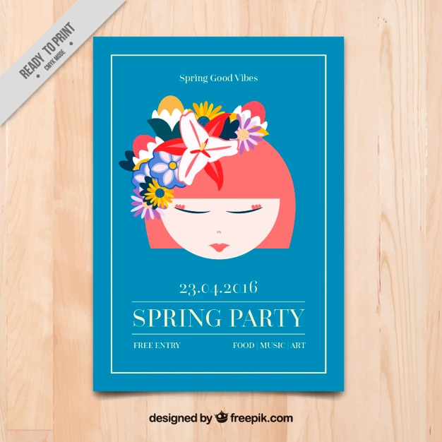 Beautiful girl with flowers spring party\ flyer