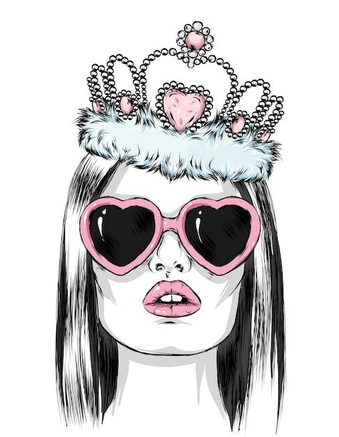 ハートの形をした眼鏡と王冠を持つ美しい少女 Premiumベクター