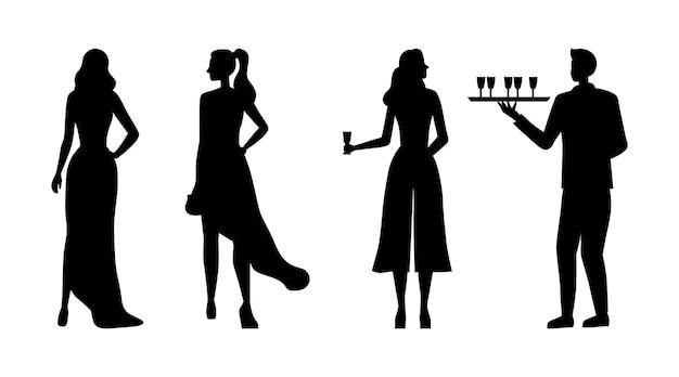 Силуэты красивых девушек в вечерних платьях на клубной вечеринке Premium векторы