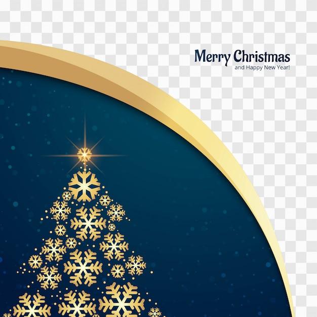 Beautiful glitters merry christmas tree card design vector Premium Vector