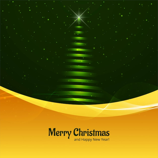 Beautiful glitters merry christmas tree card design vector Premium Vector