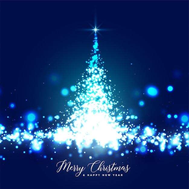 Beautiful glowing christmas tree sparkles card design Free Vector