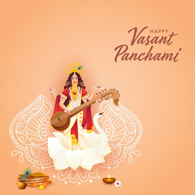 Beautiful goddess saraswati sculpture with religion offering and line art floral for happy vasant panchami. Premium Vector