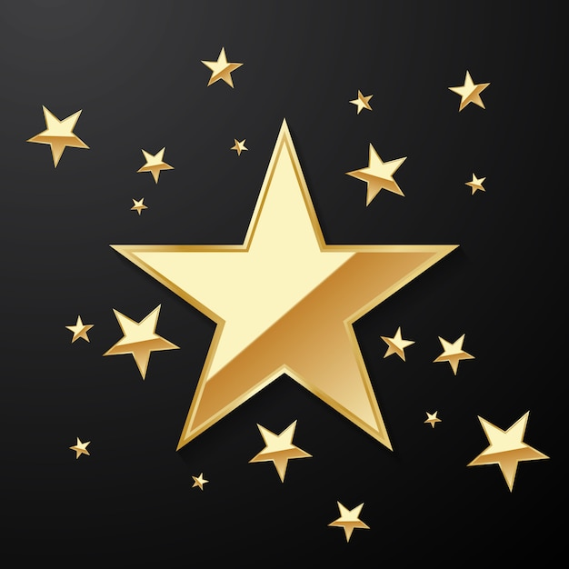 Beautiful gold star background arranged for decorating various celebrations Premium Vector