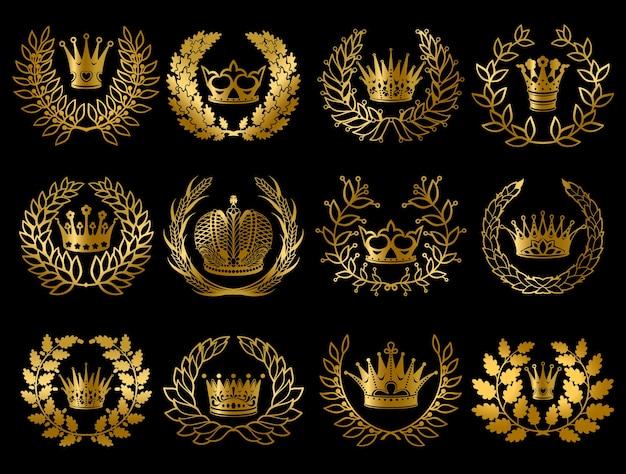 Set di bellissime ghirlande d'oro Vettore gratuito