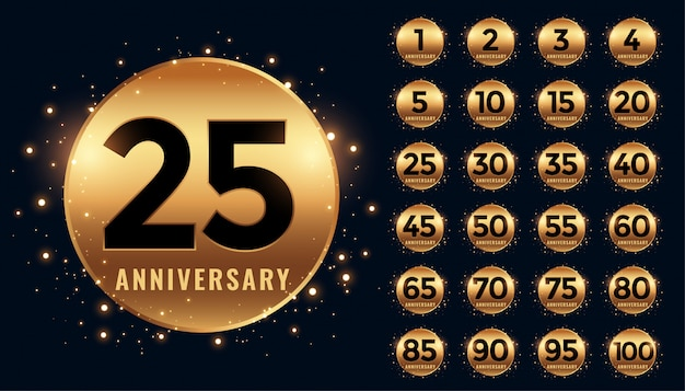 Beautiful golden anniversary badge big collection Free Vector