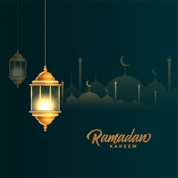 Beautiful golden arabic lantern ramadan kareem background Free Vector