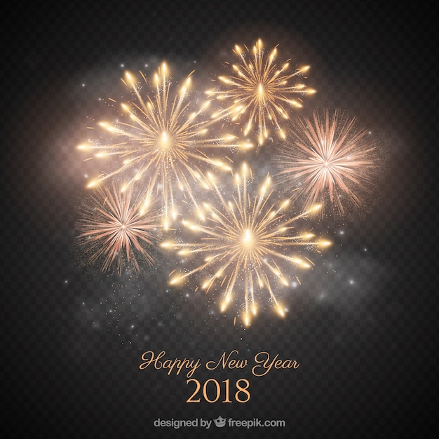 Beautiful golden fireworks Free Vector