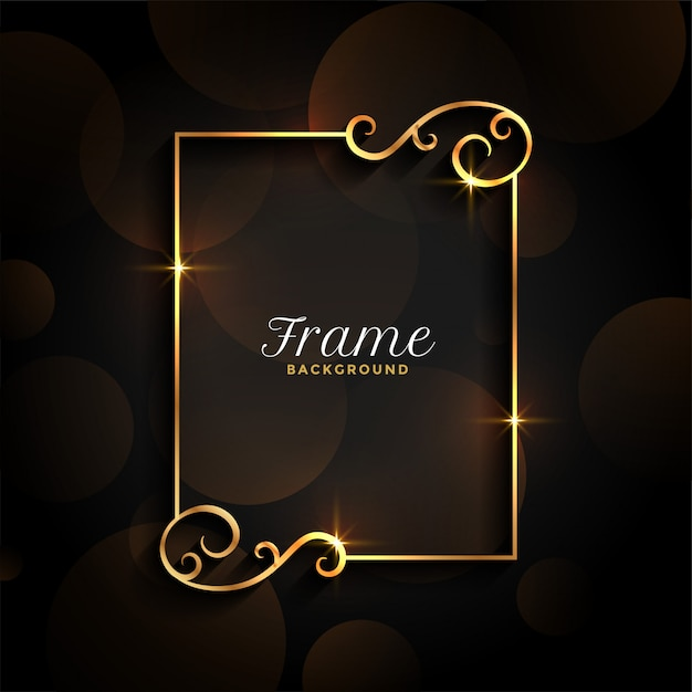 Beautiful golden floral invitation frame background Free Vector