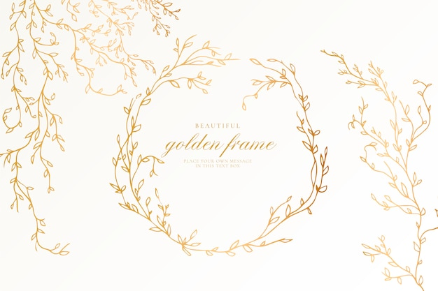 Beautiful golden frame with elegant branches Free Vector