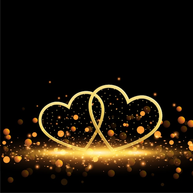 Beautiful golden hearts on sparkles background Free Vector
