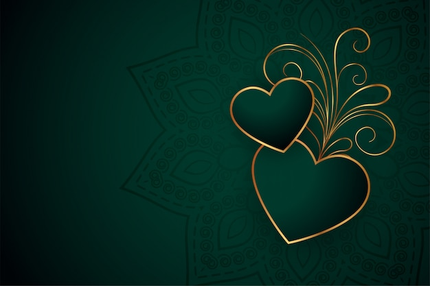 Beautiful golden hearts with floral  design background Free Vector