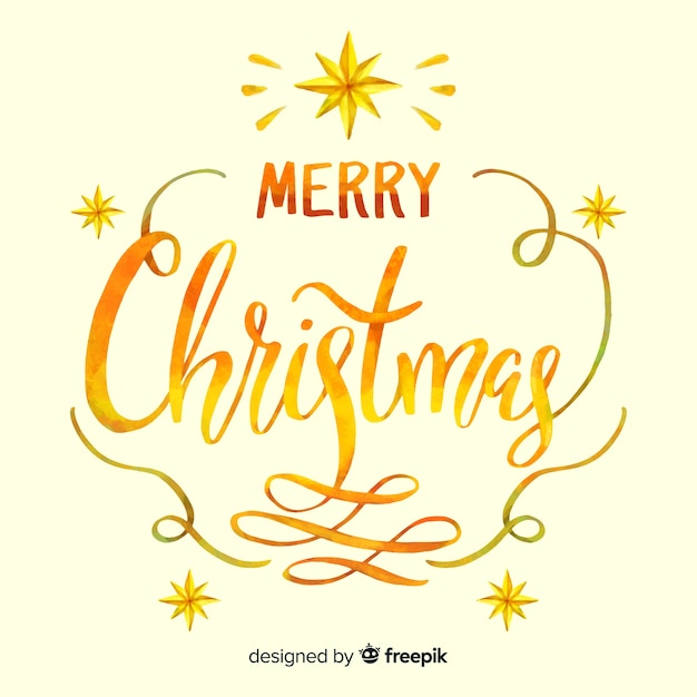 Beautiful  golden merry christmas lettering Free Vector