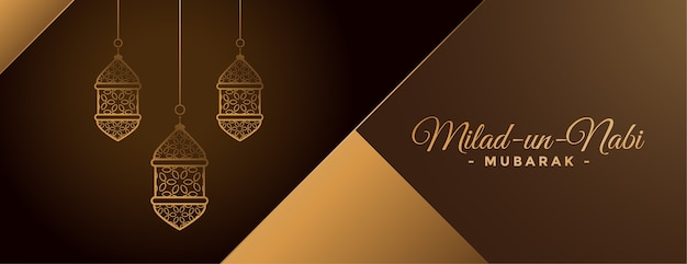 Beautiful golden milad un nabi lamps banner design Free Vector