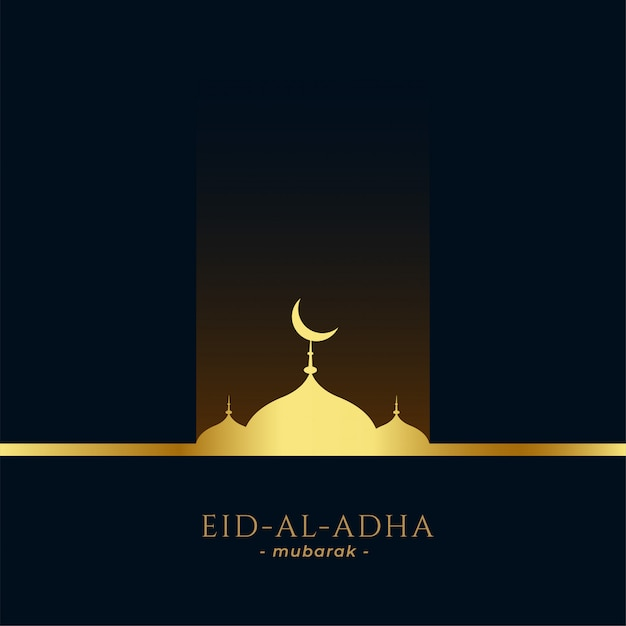 Beautiful golden mosque eid al adha greeting Free Vector