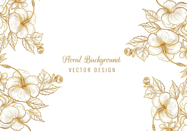 Beautiful golden ornamental floral frame Free Vector
